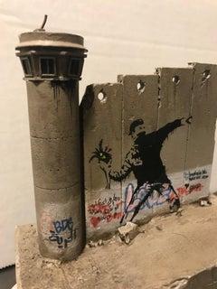 Banksy Walled Off Hotel Sculpture Iconic Flower Thrower Tower Palestine Urban