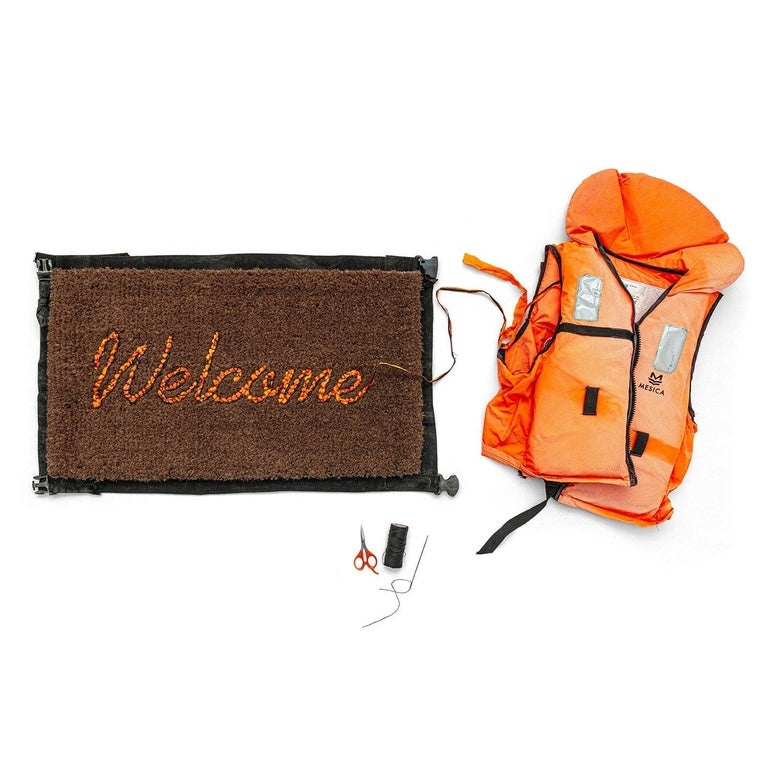 Banksy Welcome Mat from Gross Domestic Product Street Art Urban Art Love Welcome - Brown Abstract Sculpture by Banksy