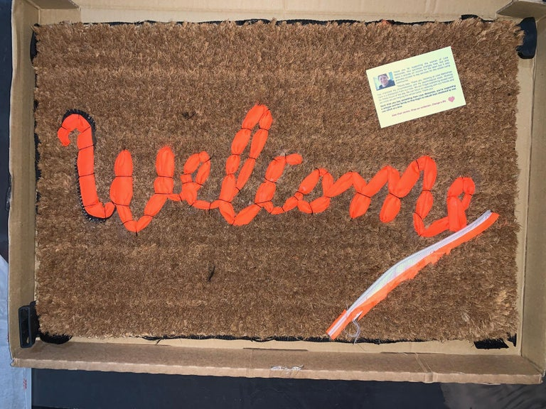 Banksy Welcome Mat from Gross Domestic Product Street Art Urban Art Love Welcome - Sculpture by Banksy