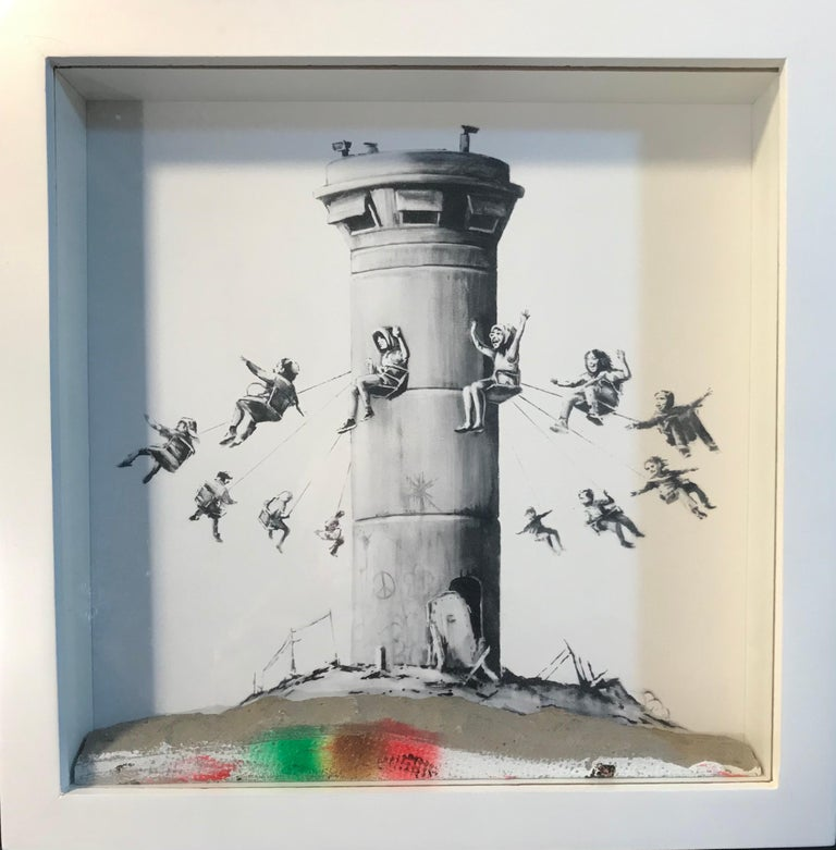 Walled Off Hotel Box Set 2017 Box Framed With Different Colored Rocks Unique WOH - Mixed Media Art by Banksy