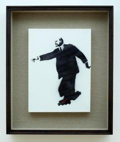 """Lenin on Roller Skates"" original canvas painting by British artist Banksy"