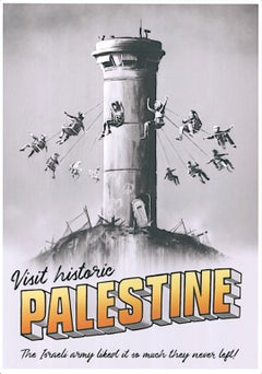 """Banksy - """"Visit historic Pales"""" - color offset lithography - dry stamp"""