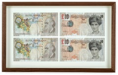 "Four framed ""Di-Faced"" Notes"