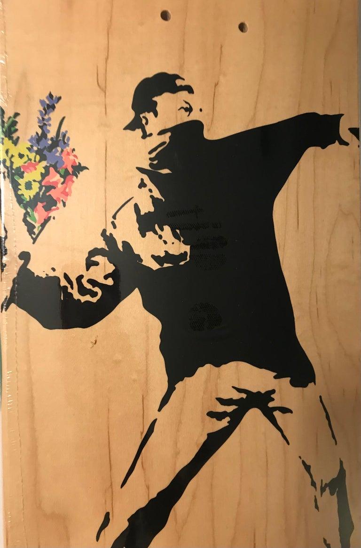 Banksy Flower Thrower Skate Deck Colored Edition, 2016 Brown Bethlehem Pop Art   - Street Art Sculpture by Banksy