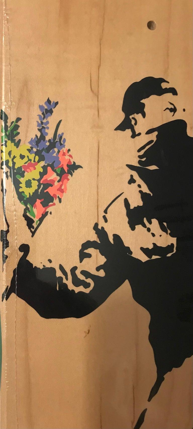 Banksy Flower Thrower Skate Deck Colored Edition, 2016 Brown Bethlehem Pop Art   - Sculpture by Banksy