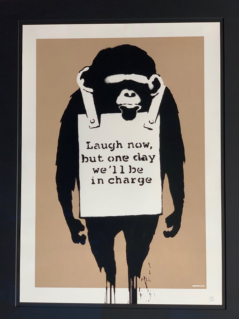 Laugh Now Banksy 2003, (Banksy British, b.1974).  Laugh Now by the notoriously secretive artist and activist Banksy is considered to be from the artist's early period of work. Instead of appearing in the streets, it was first seen in 2002 as a