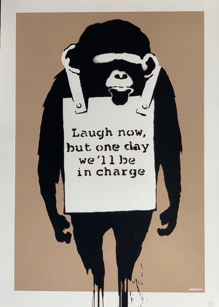 British Banksy Laugh Now 2003 Unsigned For Sale