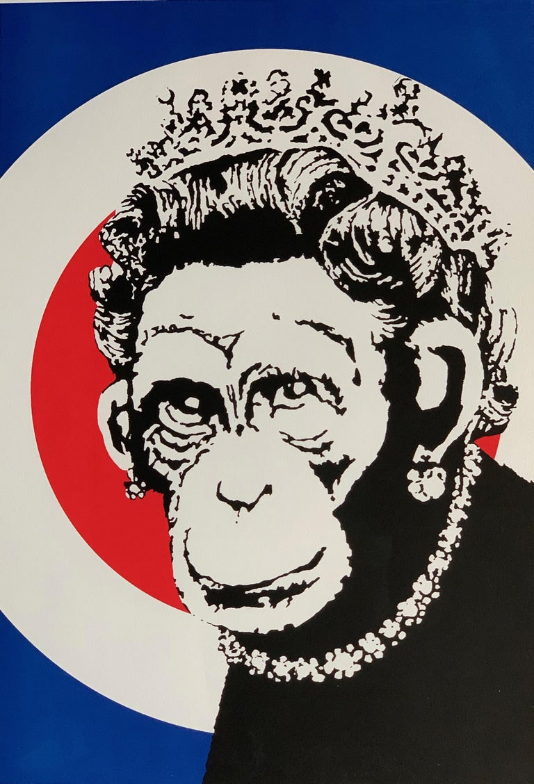 Modern Banksy Monkey Queen, 2003 Unsigned For Sale