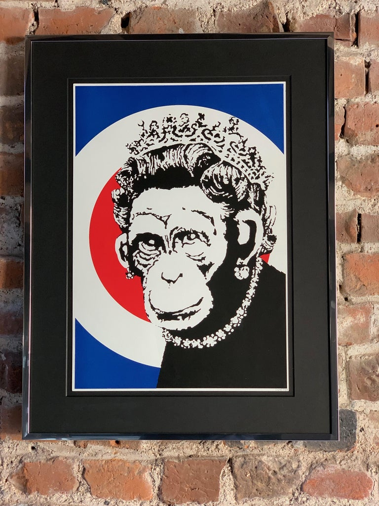 British Banksy Monkey Queen, 2003 Unsigned For Sale