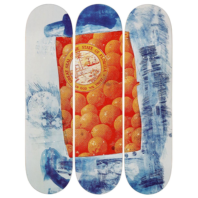 Banner Skateboard Decks after Robert Rauschenberg