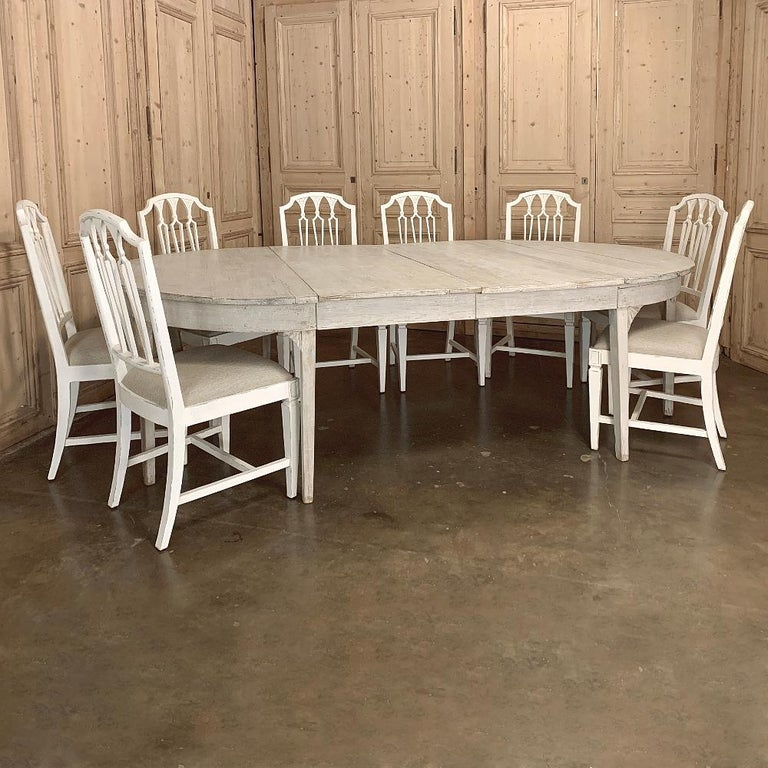 Pine Banquet Table, Painted, Early 19th Century Swedish Gustavian Period For Sale