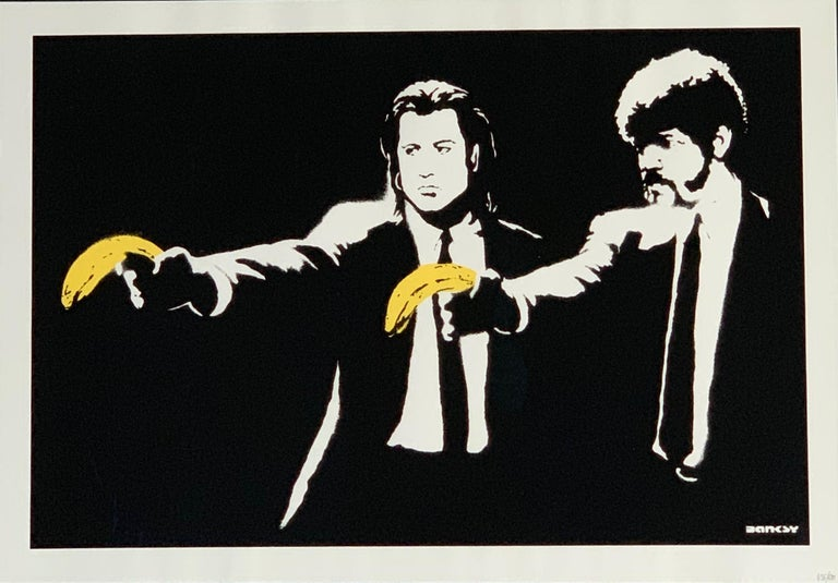 Pulp Fiction Banksy 2004 unsigned  Banksy's Pulp Fiction art depicts a famous scene from the iconic Quentin Tarantino film in which two protagonists from Pulp Fiction are clutching bananas instead of guns. This work first appeared in 2002 as a