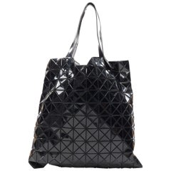 BAO BAO ISSEY MIYAKE Prism black PVC geometric mesh leather handle tote bag