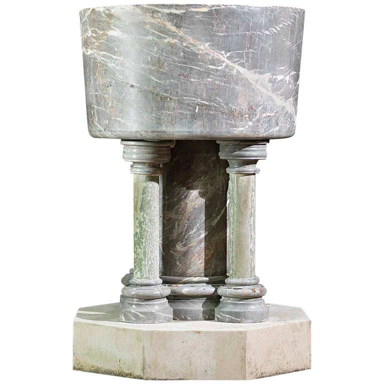 Baptismal Font in Ashburton Marble For Sale