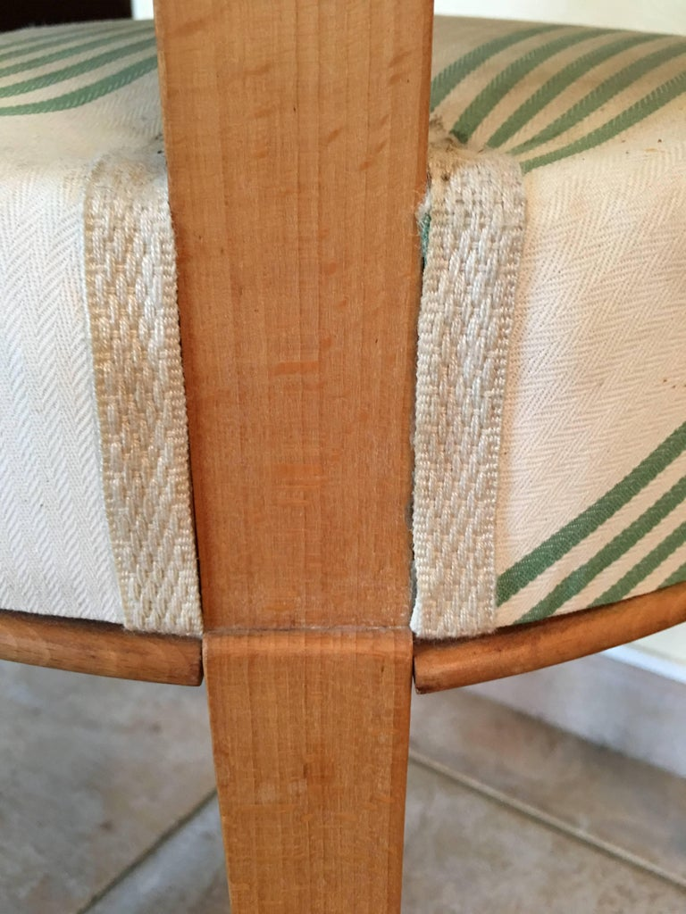 Baptistin Spade Set of Six Caned Back Sycamore Chairs, 1950s French, Documented For Sale 7