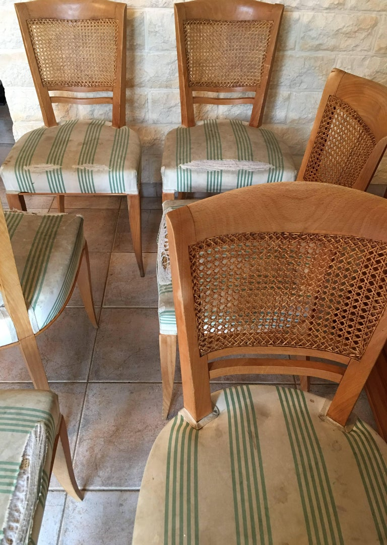 Mid-Century Modern Baptistin Spade Set of Six Caned Back Sycamore Chairs, 1950s French, Documented For Sale