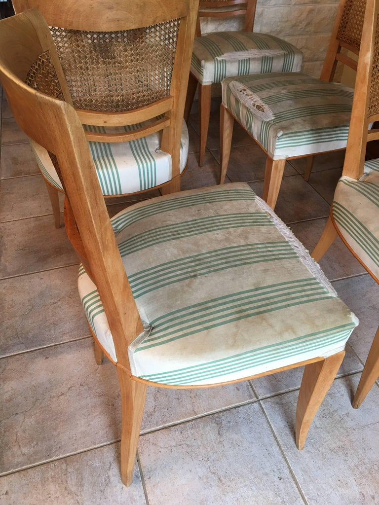 Baptistin Spade Set of Six Caned Back Sycamore Chairs, 1950s French, Documented In Fair Condition For Sale In Aix En Provence, FR