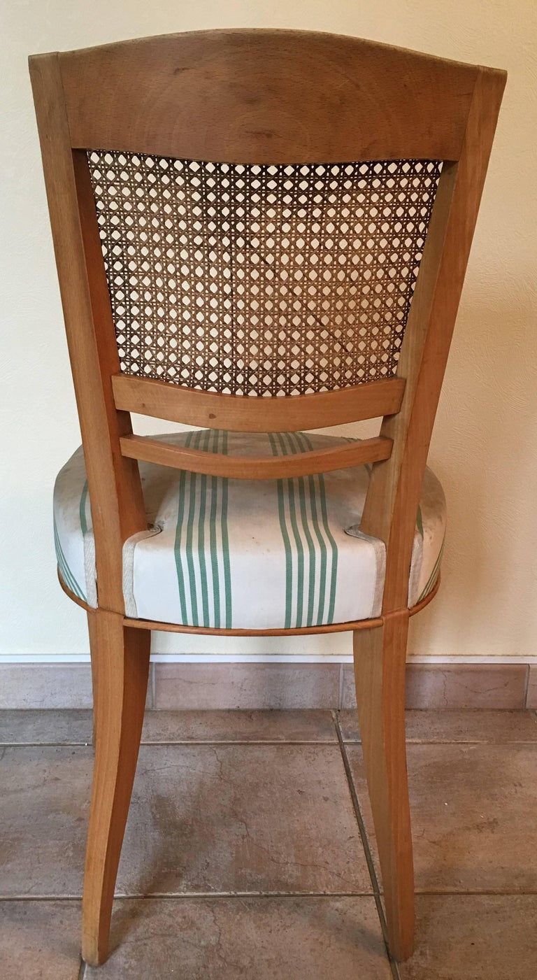 Baptistin Spade Set of Six Caned Back Sycamore Chairs, 1950s French, Documented For Sale 2