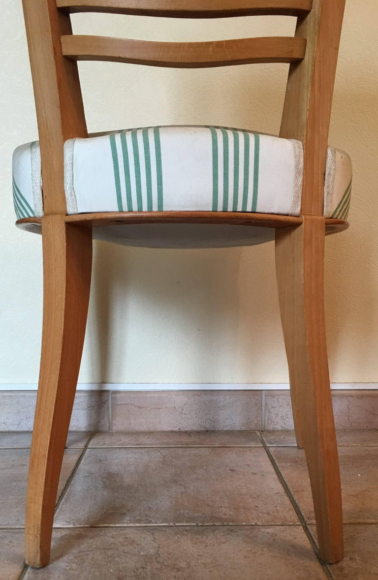Baptistin Spade Set of Six Caned Back Sycamore Chairs, 1950s French, Documented For Sale 4