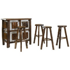 Bar and Four Stools by Olavi Hanninen for Mikko Nupponen