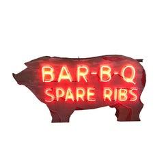 Bar - B - Q Neon Pig Sign with Original Paint