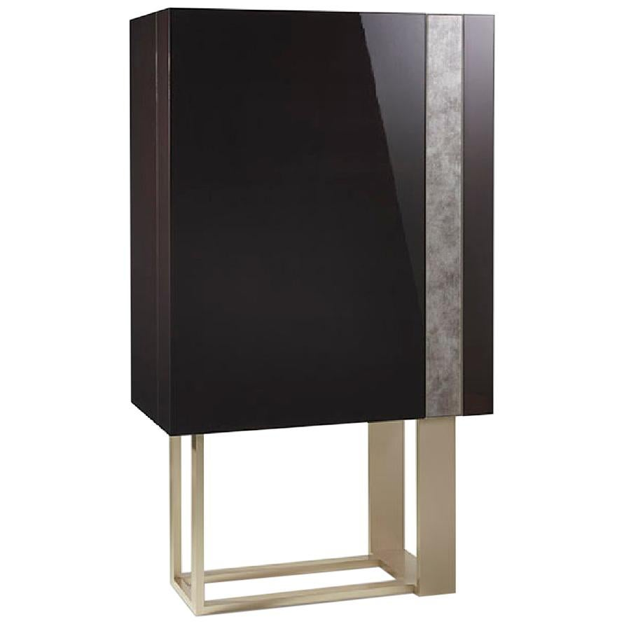 Bar Cabinet Glossy Lacquer Finish Vetrite Band Led Lighting with Opening Sensor