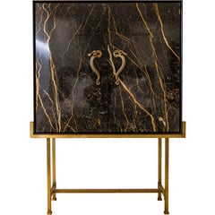 Bar Cabinet in Black Port Laurent Marble, Wood, Solid Brass