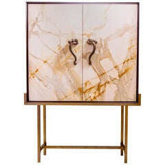 Bar Cabinet in Paonazzo Marble, Wood, Solid Brass