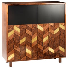 Bar Cabinet Samoa in Wood, Brass and Lacquer
