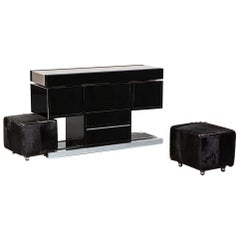 Bar Cabinet with a Couple of Cubic-Shaped Pouf by Willy Rizzo, from 1970s