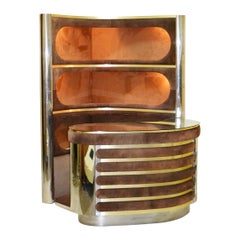 Bar Cabinet with Lighted Storage by Willy Rizzo, 1970s, Italy