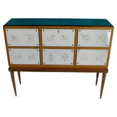 Bar Cabinet with Zodiac Etched Mirrored Glasses in the Style of Gio Ponti