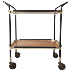 Bar Cart Attributed to Ico Parisi with Golden Metal & Bois Mèlaminè Trays, 1950s