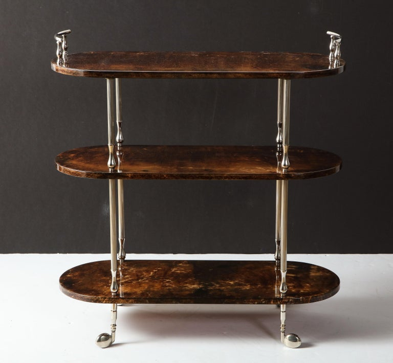 Decorative three shelves bar cart by Aldo Tura, Italy, circa 1950.