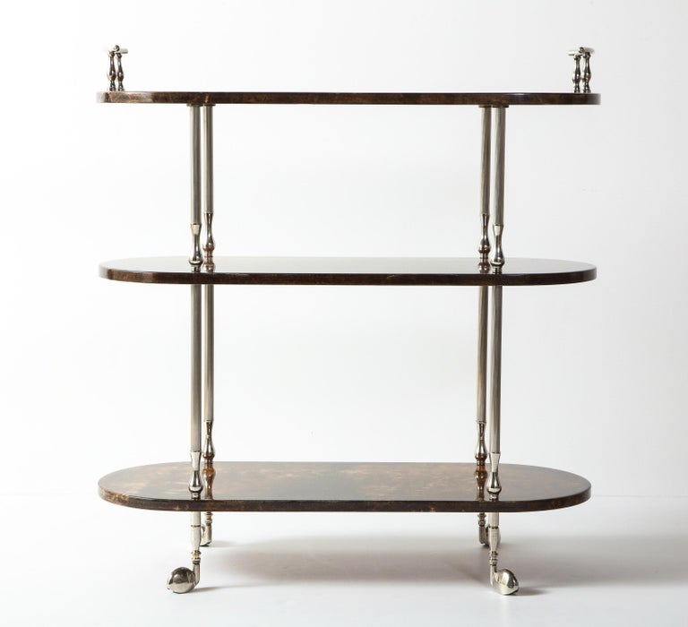 Mid-Century Modern Bar Cart by Aldo Tura, Goat Skin Parchment, Italy, circa 1950, Tall