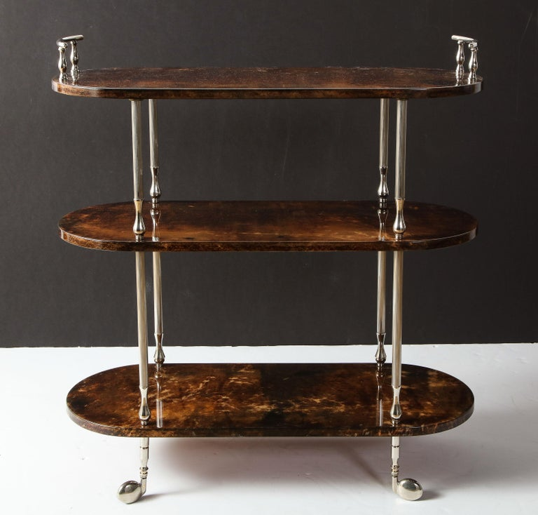 Hand-Crafted Bar Cart by Aldo Tura, Goat Skin Parchment, Italy, circa 1950, Tall