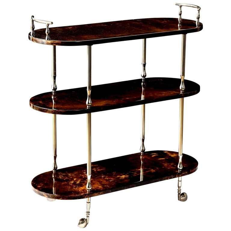 Bar Cart by Aldo Tura, Goat Skin Parchment, Italy, circa 1950, Tall