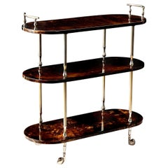 Bar Cart by Aldo Tura, Goat Skin Parchment, Italy, circa 1950, Tall, in Stock