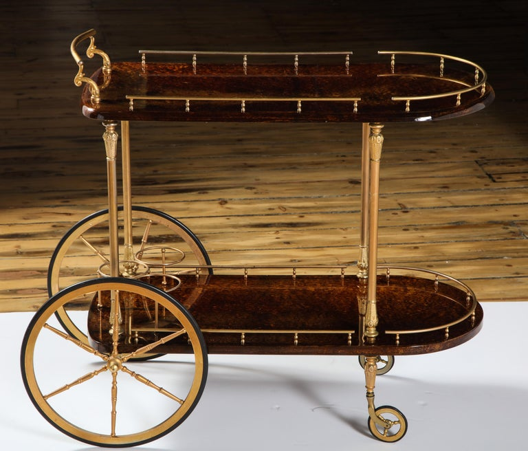 Hand-Crafted Bar Cart by Aldo Tura, Italy, circa 1950 For Sale