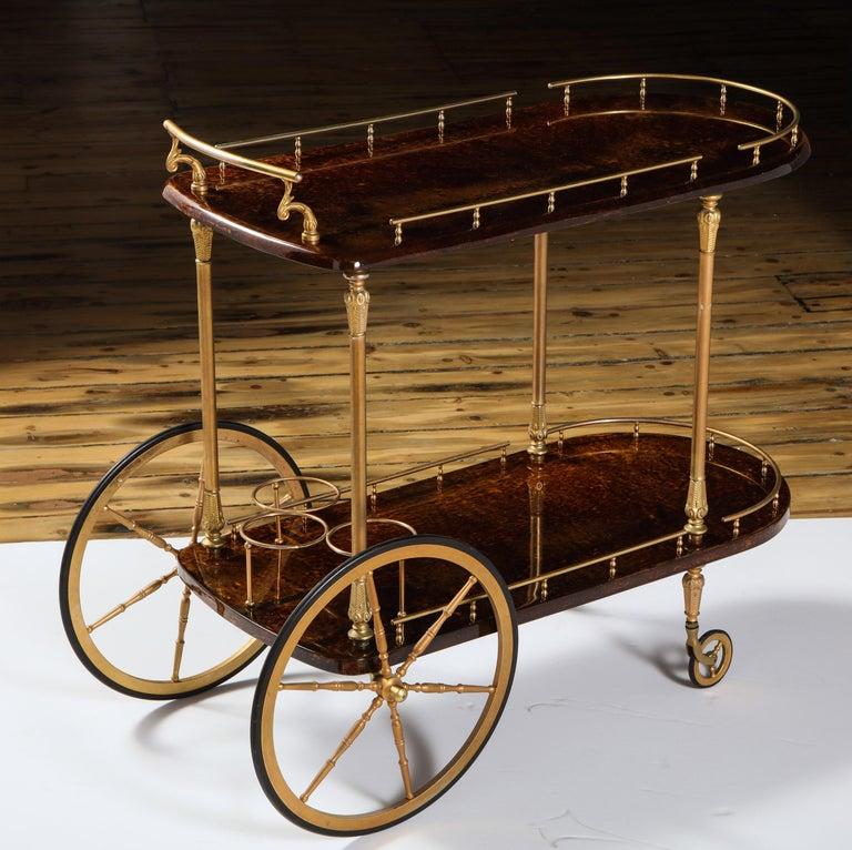 Goatskin Bar Cart by Aldo Tura, Italy, circa 1950 For Sale
