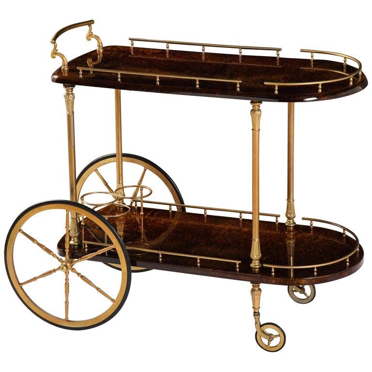 Bar Cart by Aldo Tura, Italy, circa 1950 For Sale