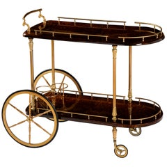 Bar Cart by Aldo Tura, Italy, circa 1950, Goat Parchment, Chocolate