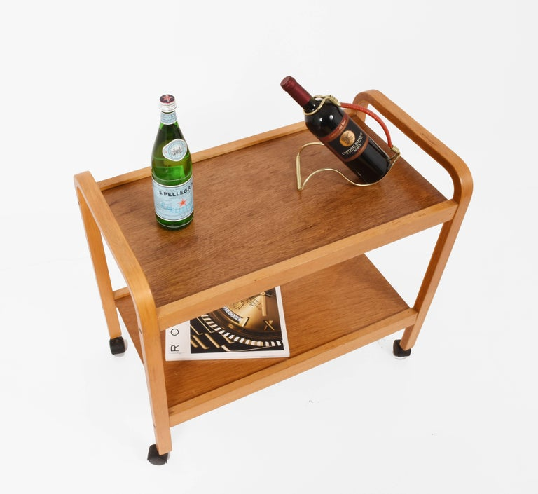 20th Century Bar Cart, Curved Wood, Italy, 1970s Italian Design Trolley For Sale