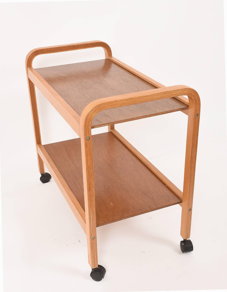 Bar Cart, Curved Wood, Italy, 1970s Italian Design Trolley For Sale 2