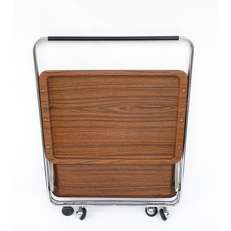 Bar Cart Folding Plastic Faux Wood and Chrome Metal by Robex, Italy, 1970s For Sale 4