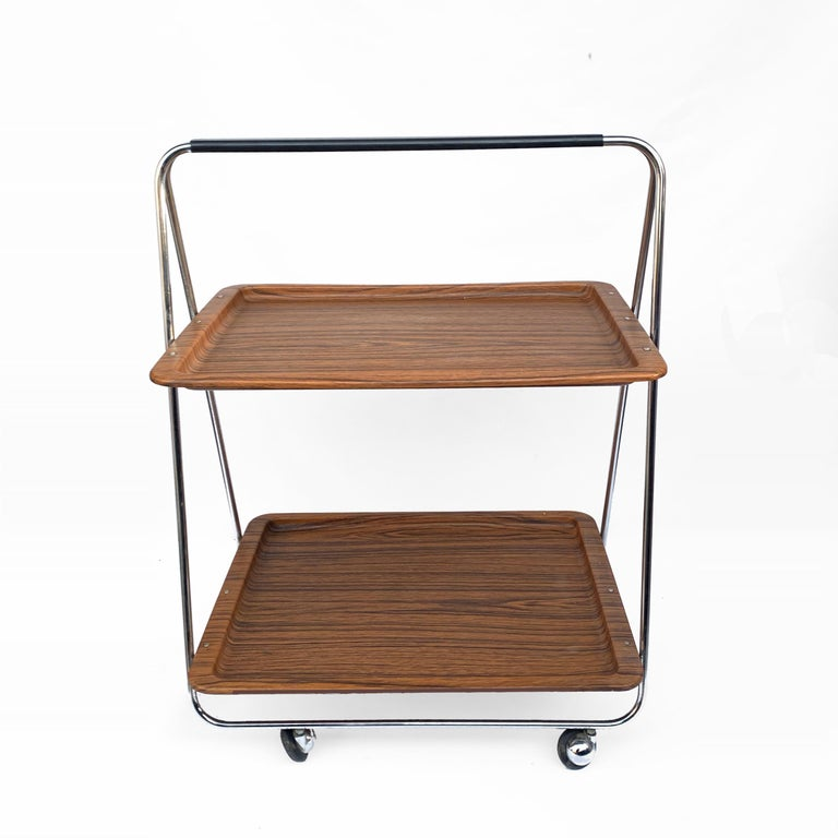 Mid-Century Modern Bar Cart Folding Plastic Faux Wood and Chrome Metal by Robex, Italy, 1970s For Sale