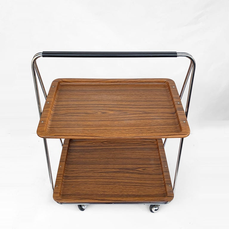 Italian Bar Cart Folding Plastic Faux Wood and Chrome Metal by Robex, Italy, 1970s For Sale