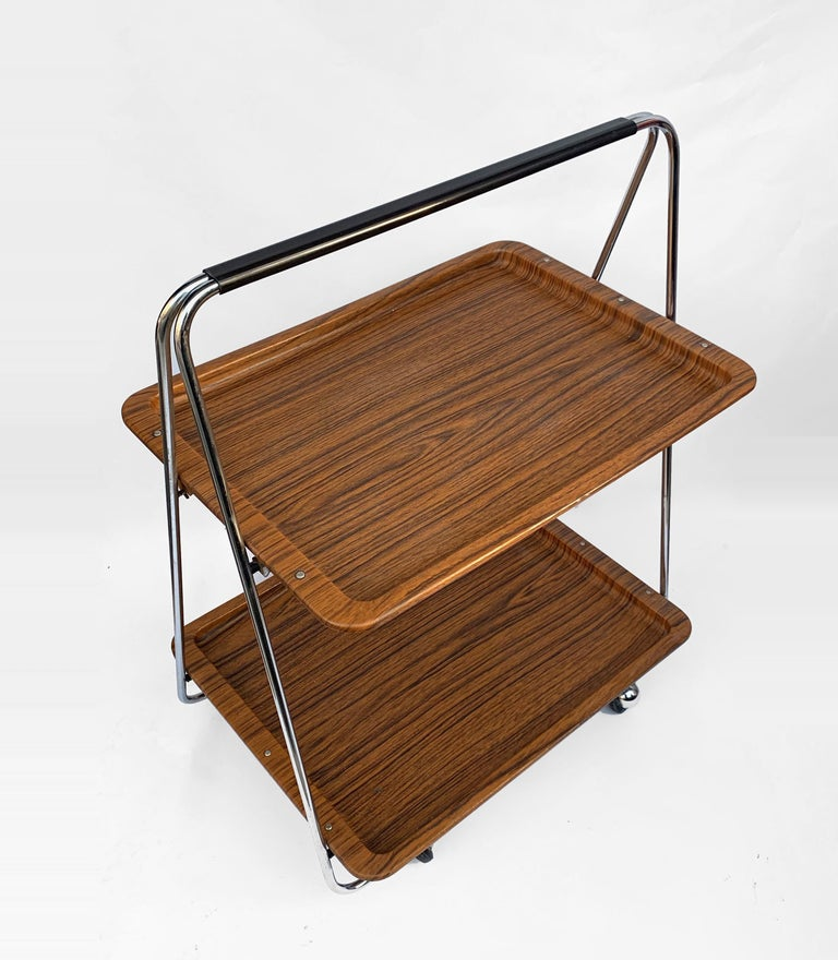 Bar Cart Folding Plastic Faux Wood and Chrome Metal by Robex, Italy, 1970s In Good Condition For Sale In Roma, IT