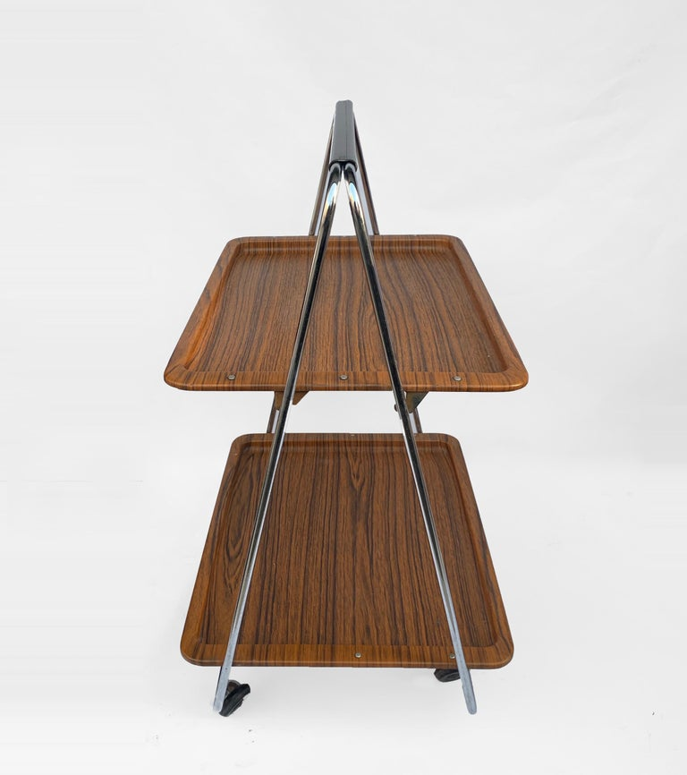 Late 20th Century Bar Cart Folding Plastic Faux Wood and Chrome Metal by Robex, Italy, 1970s For Sale