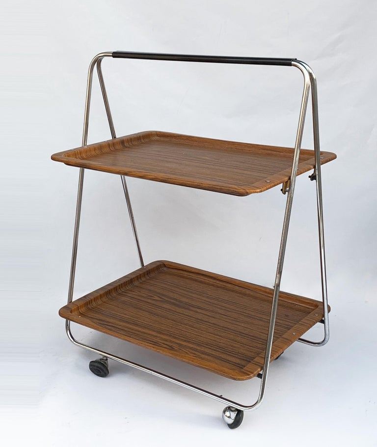 Bar Cart Folding Plastic Faux Wood and Chrome Metal by Robex, Italy, 1970s For Sale 3